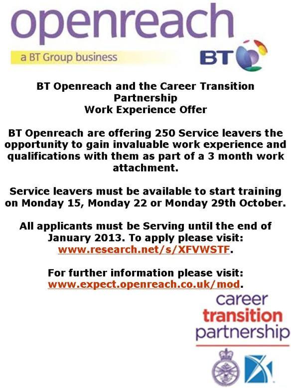 BT Service leavers 15 22 29 Oct