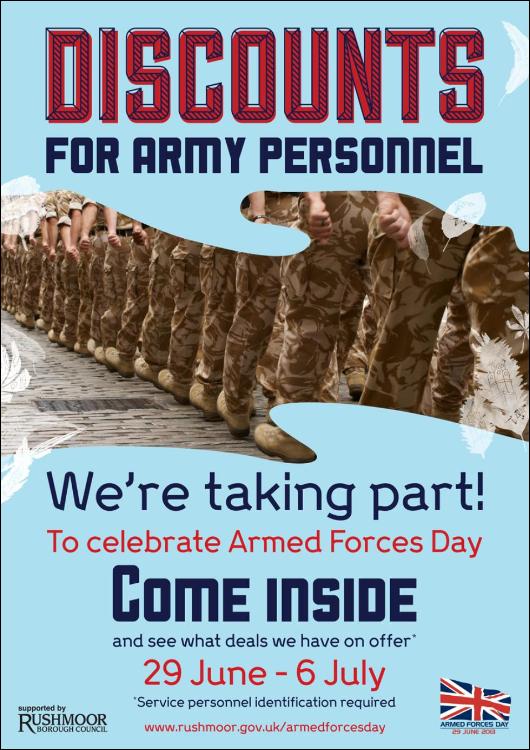 Aldershot Discounts for Armed Forces Day